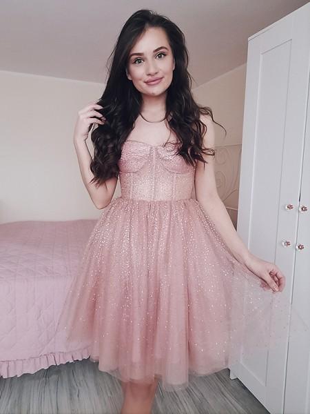 A-Line/Princess Spaghetti Straps Paillette Sleeveless Tulle Short/Mini Homecoming Dresses