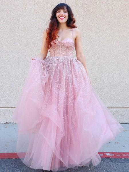 A-Line/Princess Tulle Paillette Spaghetti Straps Sleeveless Floor-Length Dresses