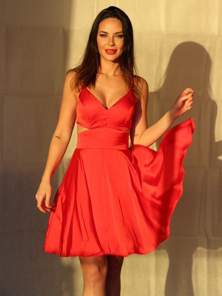 A-Line/Princess Chiffon Ruffles V-neck Sleeveless Short/Mini Homecoming Dresses