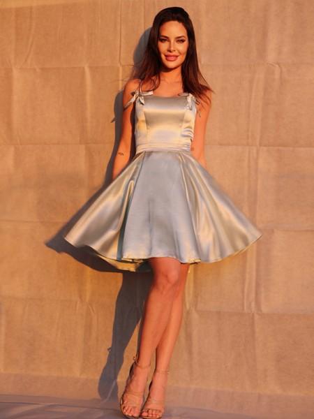 A-Line/Princess Ruffles Spaghetti Straps Sleeveless Short/Mini Homecoming Dresses