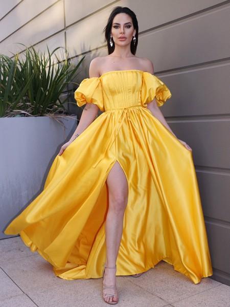 A-Line/Princess Satin Ruffles Off-the-Shoulder Short Sleeves Sweep/Brush Train Dresses