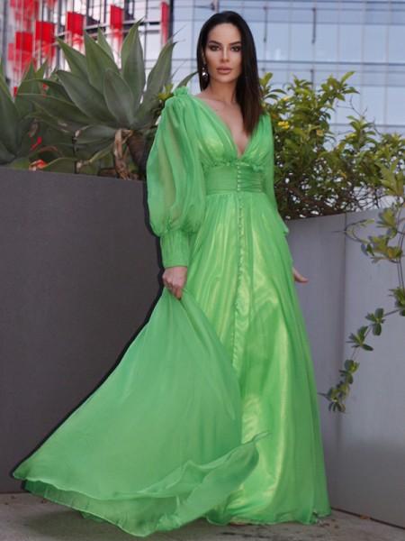 A-Line/Princess 3D Chiffon Ruffles V-neck Long Sleeves Sweep/Brush Train Dresses
