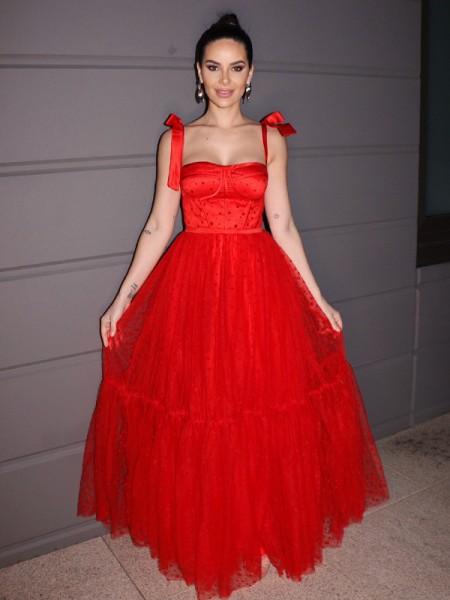 A-Line/Princess Lace Ruffles Square Sleeveless Floor-Length Dresses