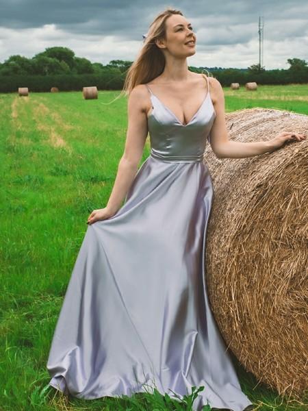 A-Line/Princess Elastic Woven Satin Ruffles V-neck Sleeveless Floor-Length Dresses