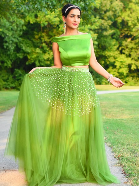 A-Line/Princess Tulle Beading Off-the-Shoulder Sleeveless Floor-Length Two Piece Dresses