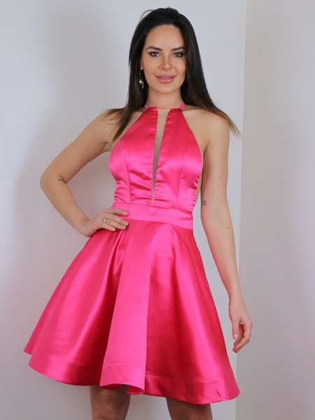 Corte A/Princesa Satén Volantes Cabestro Sin Mangas Corto/Mini Vestidos