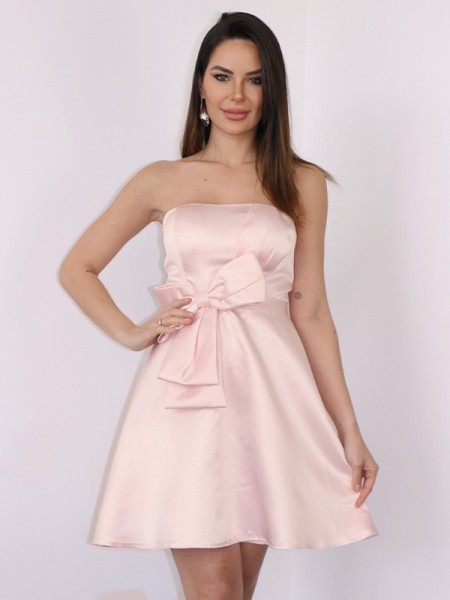 Corte A/Princesa Satén Lazos Sin Tirantes Sin Mangas Corto/Mini Vestidos