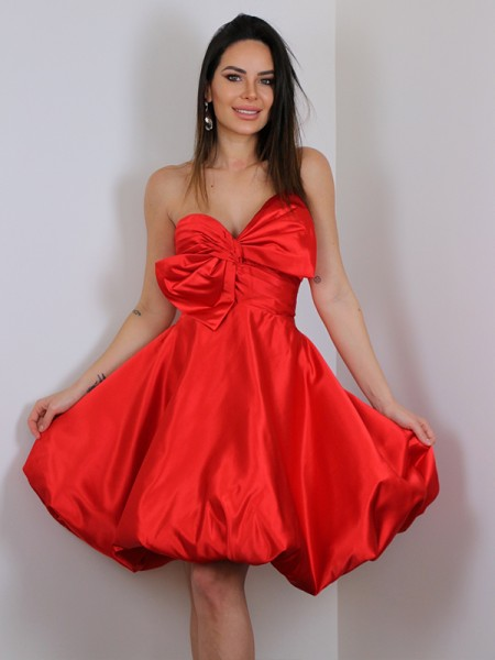Corte A/Princesa Satén Lazos Escote corazón Sin Mangas Corto/Mini Vestidos