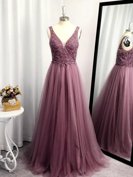 Corte en A/Princesa Sin Mangas Tul Hasta el Suelo Applique Escote en V Vestidos