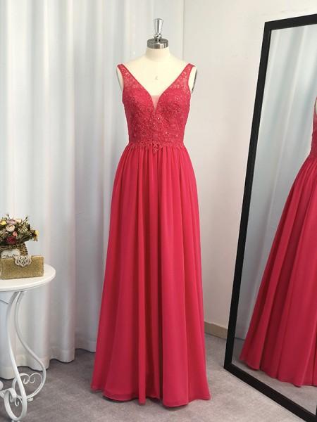 Corte en A/Princesa Hasta el Suelo Sin Mangas Chifón Applique Escote en V Vestidos