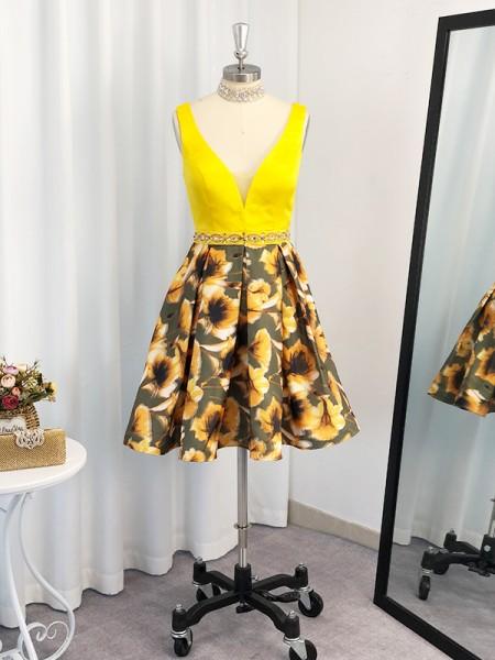 Corte en A/Princesa Satén Ruffles Escote en V Sin Mangas Corta/Mini Vestidos