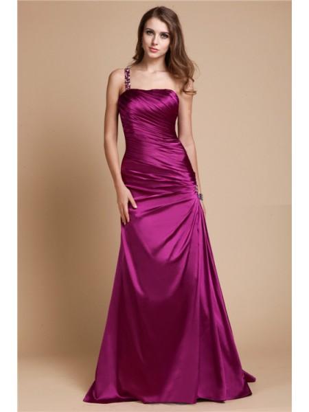 Corte en A/Princesa One Shoulder Sin Mangas Abalorios Largo Satén Elástico Vestidos