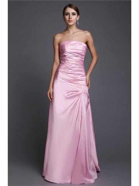 Corte en A/Princesa Sin Tirantes Largo Abalorios Satén Elástico Vestidos