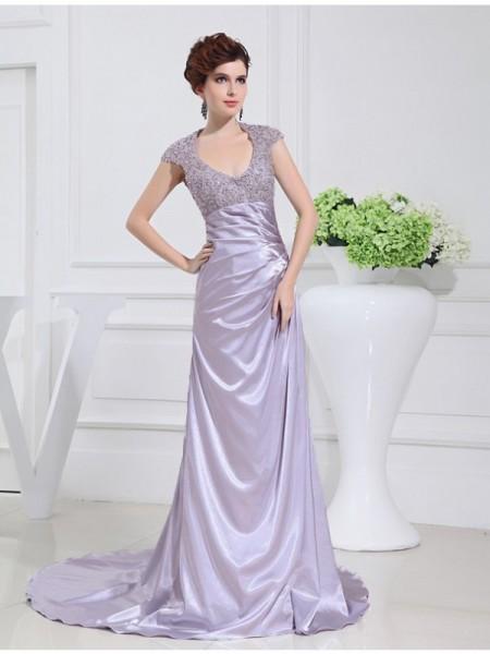 Corte en A/Princesa Escote en U Largo Abalorios Encaje Satén Elástico Vestidos