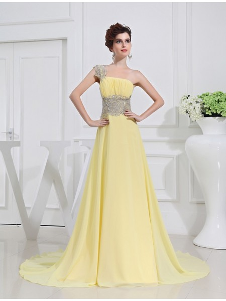 Corte en A/Princesa Un solo Hombro Abalorios Apliquess Gasa Vestidos
