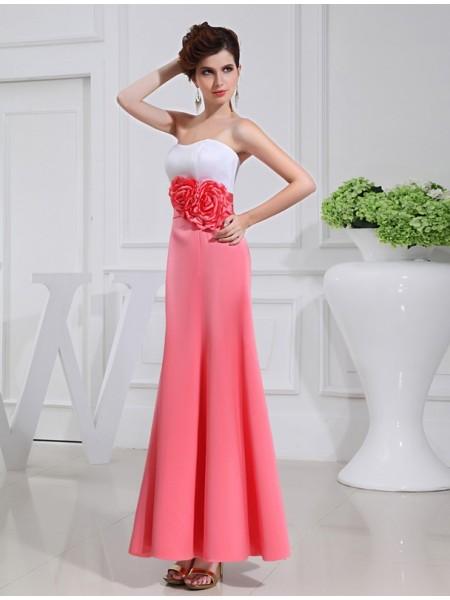 Corte en A/Princesa Flores hechas a mano Sin Mangas Satén Largo Vestidos de dama de honor