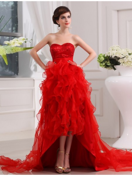 Corte en A/Princesa Lentejuelas Escote de Corazón Sin Mangas Asimétrico Organza Vestidos