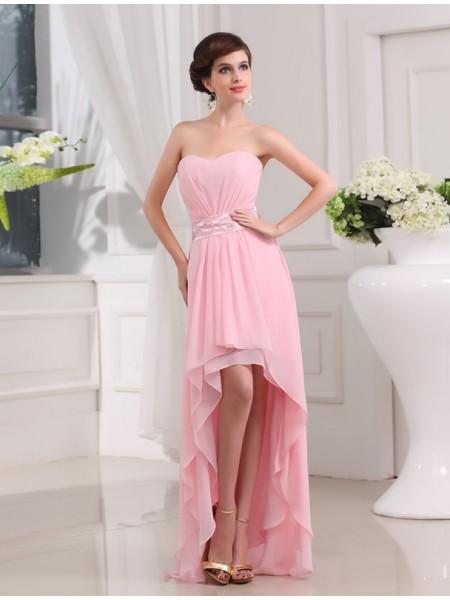 Corte en A/Princesa Abalorios Escote de Corazón Sin Mangas Asimétrico Gasa Vestidos
