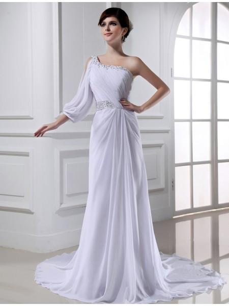 Corte en A/Princesa Abalorios Un solo Hombro One-sleeve Gasa Vestidos de Novia