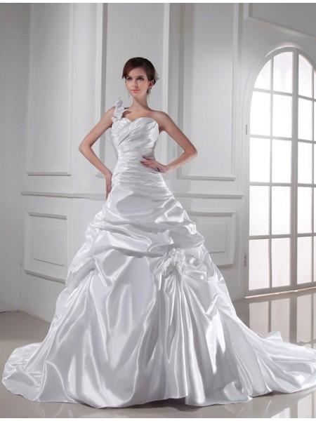 Corte en A/Princesa Un solo Hombro Escote de Corazón Sin Mangas Largo Plisado Satén Elástico Vestidos de Novia