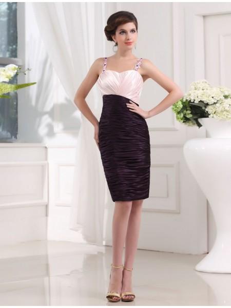 Ajustado/Tipo Columna Abalorios Sin Mangas Tirantes Apliques Satén Elástico Vestidos de dama de honor