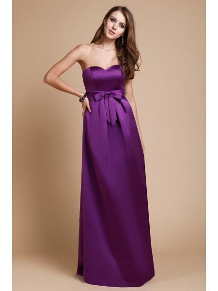 Ajustado/Tipo Columna Escote de Corazón Sin Mangas Largo Lazos Satén Elástico Vestidos de dama de honor