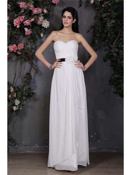 Ajustado/Tipo Columna Escote de Corazón Sin Mangas Plisado Flores hechas a mano Largo Gasa Vestidos de dama de honor