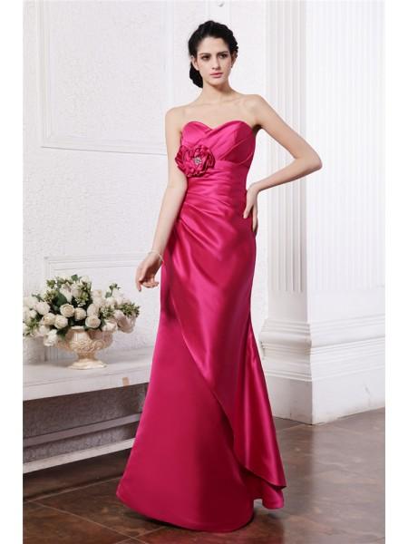 Ajustado/Tipo Columna Escote de Corazón Sin Mangas Plisado Flores hechas a mano Largo Satén Elástico Vestidos de dama de honor