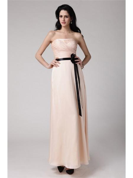 Ajustado/Tipo Columna Sin Tirantes Sin Mangas Sash Satén Elástico Gasa Vestidos de dama de honor