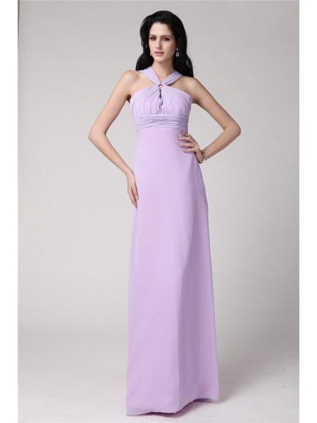 Ajustado/Tipo Columna Escote Alto Sin Mangas Plisado Largo Gasa Vestidos de dama de honor