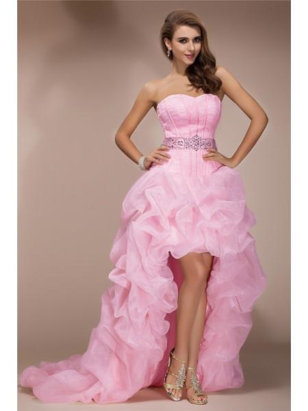 Corte en A/Princesa Escote de Corazón Sin Mangas Asimétrico Abalorios Organza Vestidos