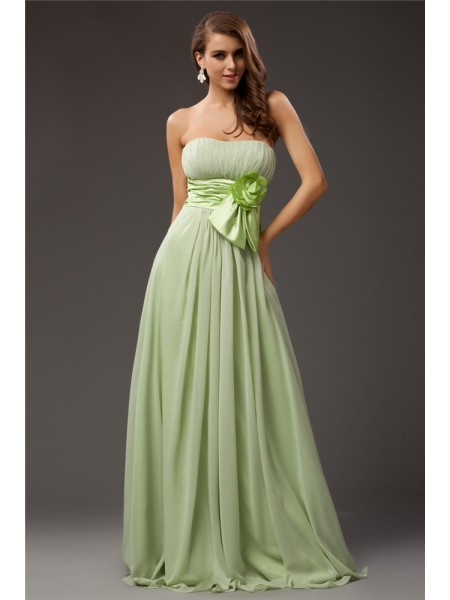 Ajustado/Tipo Columna Sin Tirantes Sin Mangas Volantes Largo Gasa Satén Elástico Vestidos de dama de honor