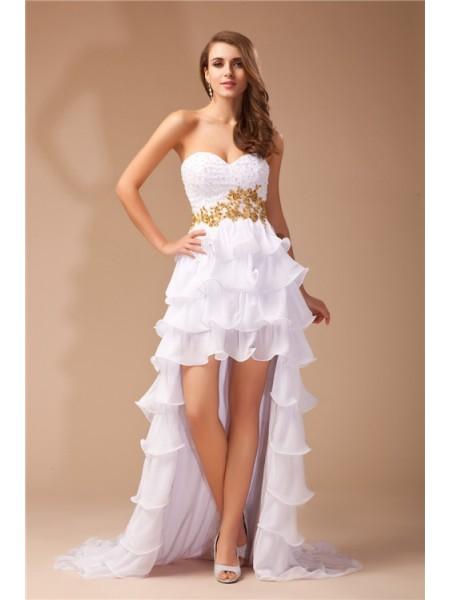 Corte en A/Princesa Escote de Corazón Sin Mangas Asimétrico Abalorios Gasa Vestidos