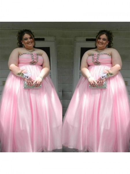 Corte en A/Princesa Sin Tirantes Sin Mangas Abalorios Hasta el Suelo Satén Grande Vestidos
