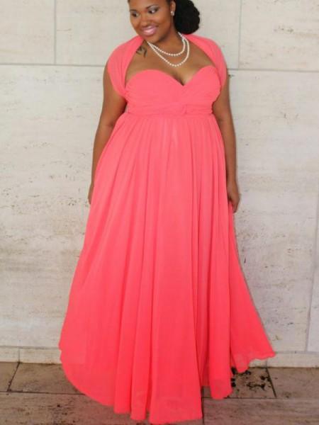 Corte en A/Princesa Escote de Corazón Sin Mangas Fruncido Hasta el Suelo Chifón Grande Vestidos
