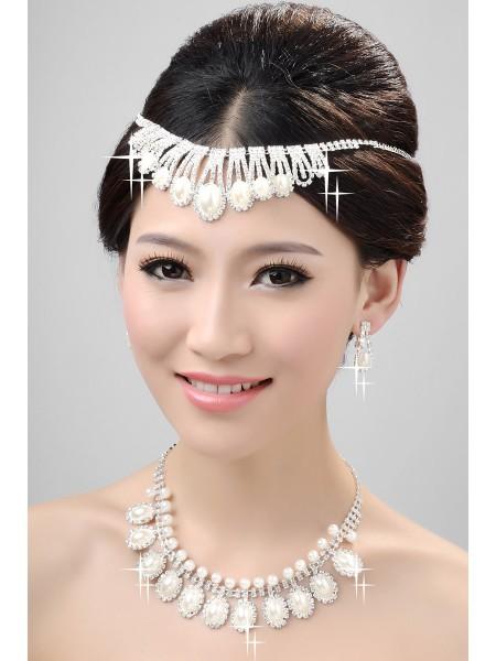 Bonito Aleación Clear Cristales Perlas Tocados de boda Collares pendientes determinados