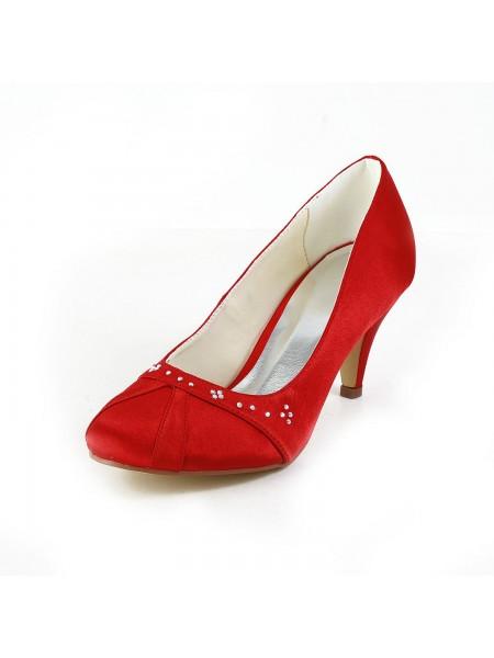 De las mujeres Nice Satén Talón de cono Punta Cerrada Red Zapatos de boda Con Estrás