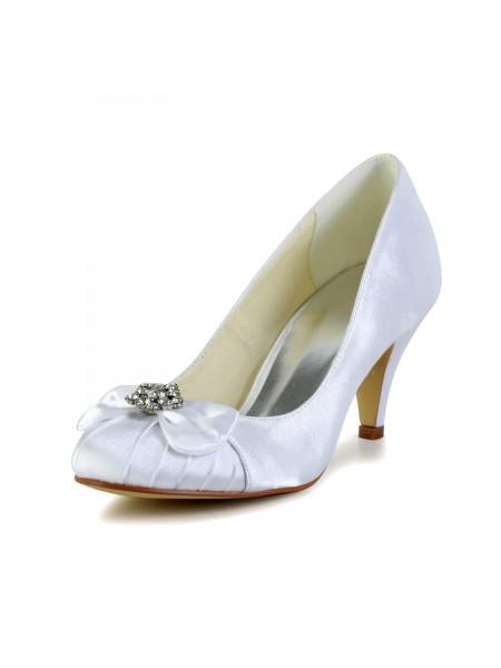 De las mujeres Satén Talón de cono Punta Cerrada Blanco Zapatos de boda Con Lazos Estrás