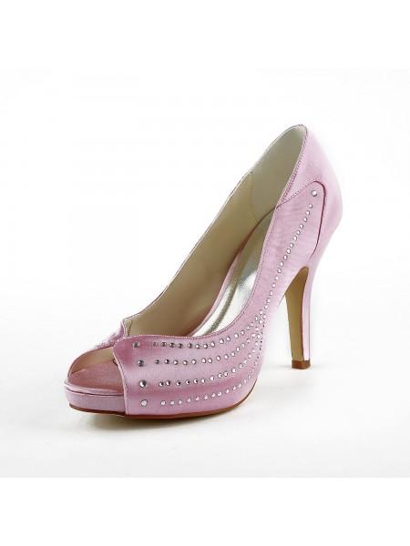 De las mujeres Satén Tacón de Aguja Zapato Abierto por Delante Plataforma Pink Zapatos de boda Con Estrás