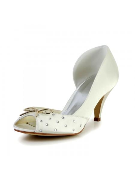 De las mujeres Nice Satén Talón de cono Estrás Ivory Zapatos de boda