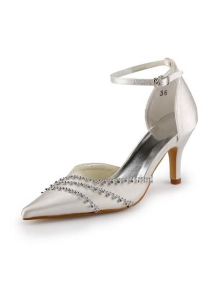 De las mujeres Nice Satén Tacón de Aguja Punta Cerrada Champagne Zapatos de boda Con Buckle