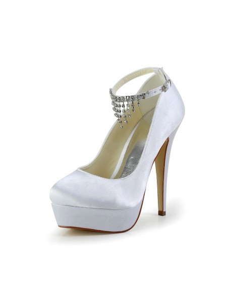 De las mujeres Nice Satén Tacón de Aguja Punta Cerrada Con Estrás Blanco Zapatos de boda