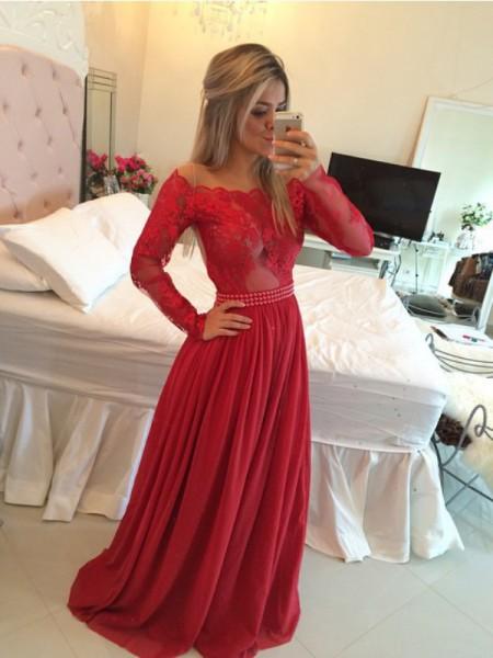 Corte en A/Princesa Hombros Caídos Gasa Cola de Barrido Apliques Vestidos