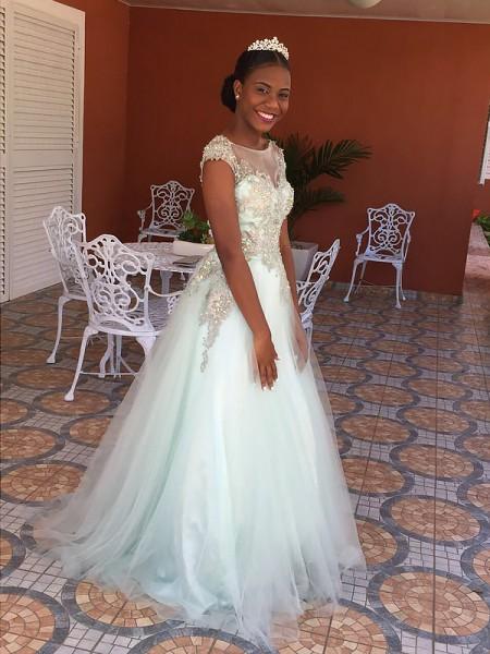 Corte en A/Princesa Escote Barco Sin Mangas Hasta el Suelo Apliques Tul Vestidos