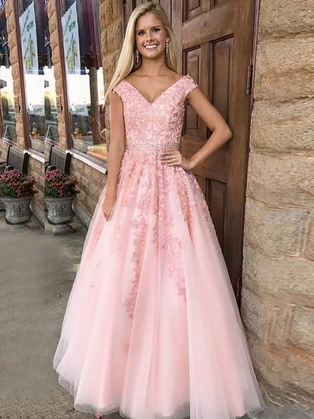 Corte en A/Princesa Escote en V Sin Mangas Hasta el Suelo Apliques Tul Vestidos