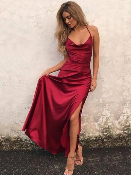 Corte en A/Princesa Tirantes Espagueti Sin Mangas Hasta el Suelo Volantes Satén Elástico Vestidos