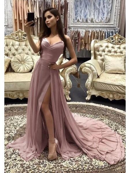 Corte en A/Princesa Escote de Corazón Sin Mangas Cola de Barrido Capas Chifón Vestidos