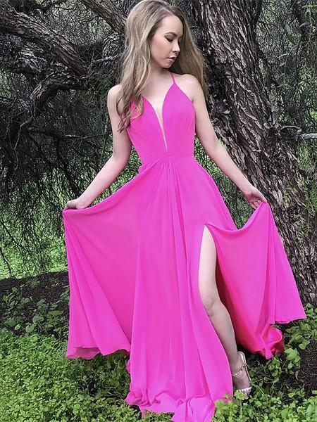 Corte en A/Princesa Tirantes Espagueti Sin Mangas Cola de Barrido Volantes Chifón Vestidos