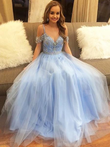 Corte en A/Princesa Hombros Caídos Hasta el Suelo Tul Sin Mangas Abalorios Vestidos