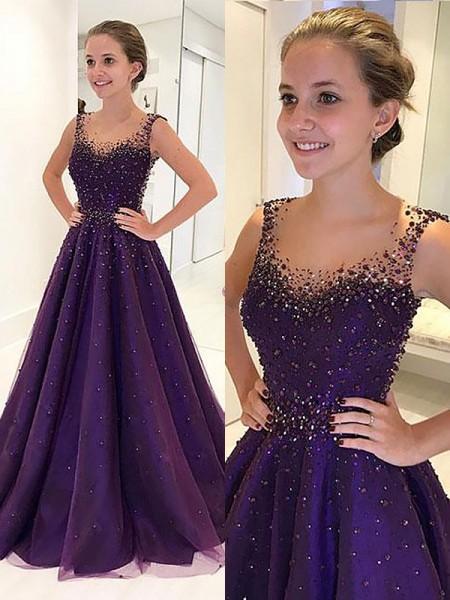 Corte en A/Princesa Escote en U Hasta el Suelo Tul Sin Mangas Abalorios Vestidos